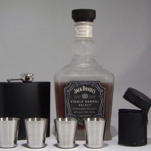 Stainless Steel Black Flask with Stainless Steel Shot Glass Set
