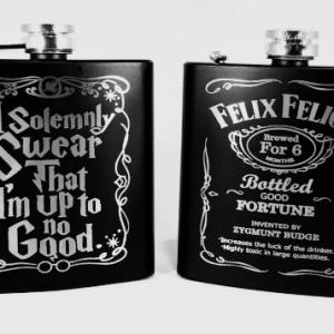 "FelixAndSolemnlySwear 300x300 - Engraved Stainless Steel ""Felix  Felicis Liquid Luck"" and ""Solemnly Swear"" Harry Potter Inspired Flask Set"