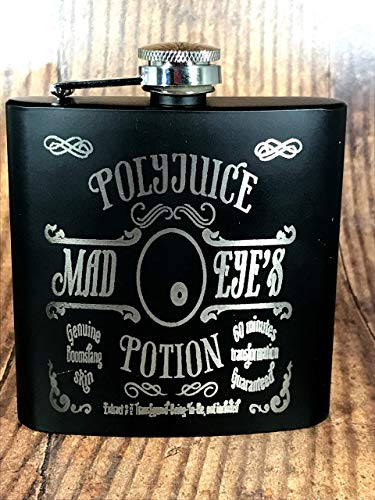 POLY2 - Engraved Stainless Steel Mad Eye's PolyJuice Potion Harry Potter Inspired Flask