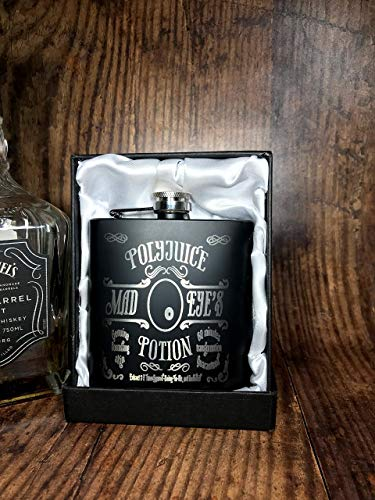 POLY4 - Engraved Stainless Steel Mad Eye's PolyJuice Potion Harry Potter Inspired Flask