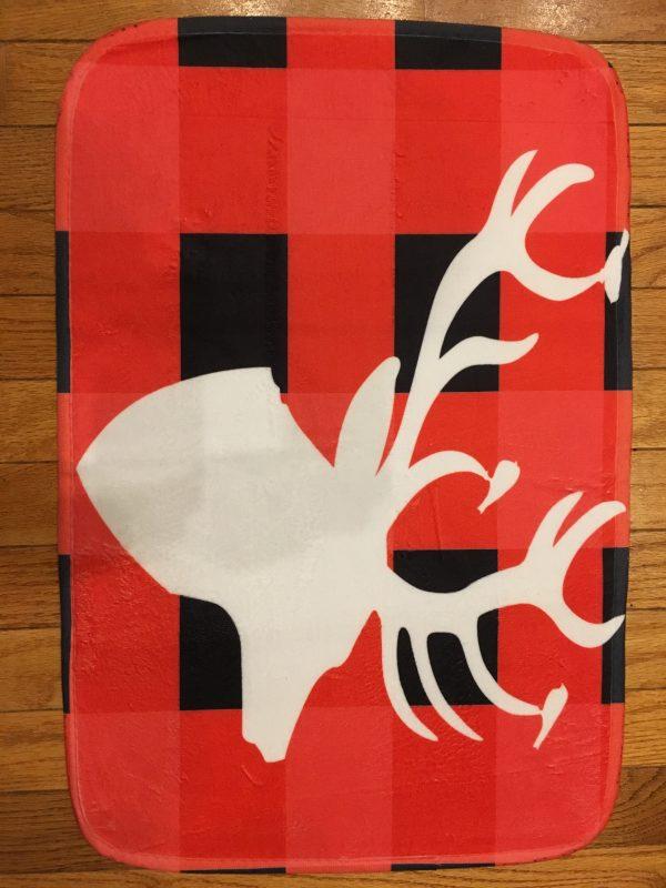 IMG 2790 600x800 - Custom Buffalo Plaid Mat With White Deer Head