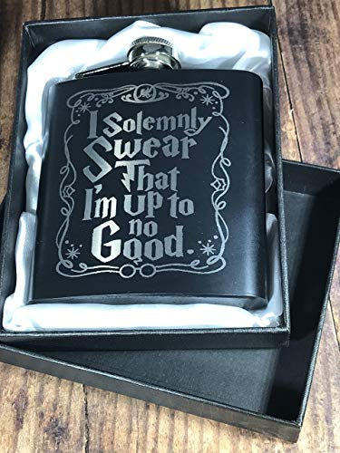 "swear2 - Engraved Stainless Steel ""I Solemnly Swear"" Harry Potter Inspired Flask"