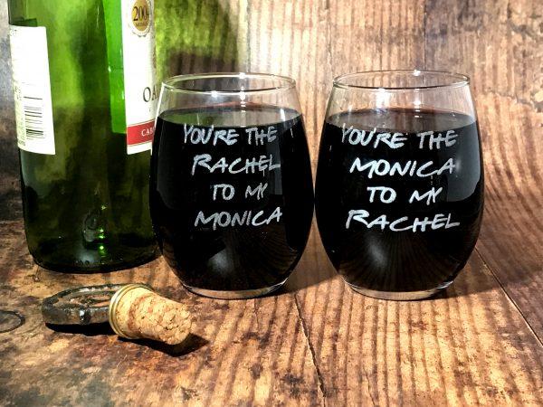 RachelAndMonica01 600x450 - Friends Inspired Wine Glasses