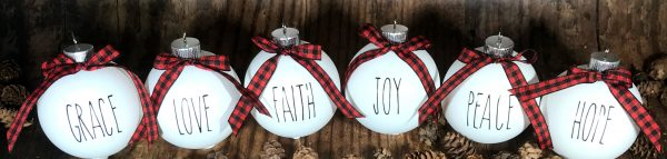 ReligiousOrnaments 03 600x143 - 1 Set of 6 White Farm House Ornaments with Buffalo Plaid Bow for Christmas Tree - Religious