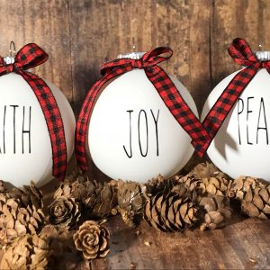 ReligiousOrnaments 06 300x300 - White Farm House Ornaments with Buffalo Plaid Bow for Christmas Tree