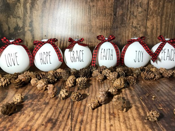 ReligiousOrnaments 08 600x450 - 1 Set of 6 White Farm House Ornaments with Buffalo Plaid Bow for Christmas Tree - Religious