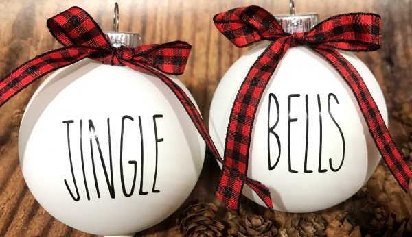 Secuclar JingleBells 600x346 - White Farm House Ornaments with Buffalo Plaid Bow for Christmas Tree