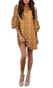 BELONGSCI Womens Dress Sweet Cute V Neck Bell Sleeve Shift 182x300 - BELONGSCI Women's Dress Sweet & Cute V-Neck Bell Sleeve Shift Dress Mini Dress
