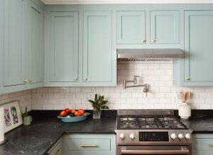Blue Green Kitchen Cabinets Stove Wall 300x219 - A Big Kitchen Makeover Created From Little Changes