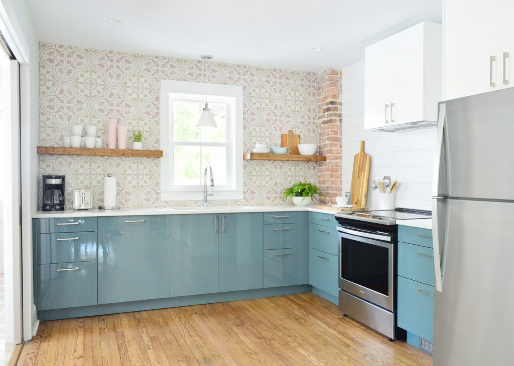 Full Duplex Kitchen With Planked Wall And Pink Tile Backsplash