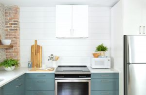 Duplex Kitchen Pink Final To Stove Side 300x196 - Installing A $31 Paneled Wall Treatment (Beginners Can Do This!)