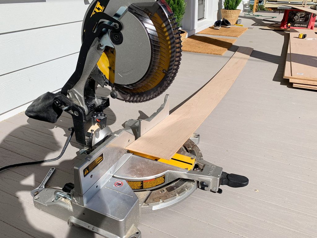 Miter Saw Set Up To Cut Panel Strip To Length
