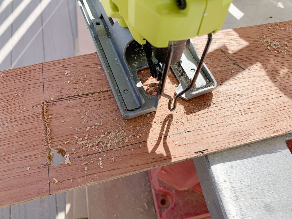 Kitchen Shiplap Backsplash Cutting Outlet Hole Jigsaw 1024x768 - Installing A $31 Paneled Wall Treatment (Beginners Can Do This!)
