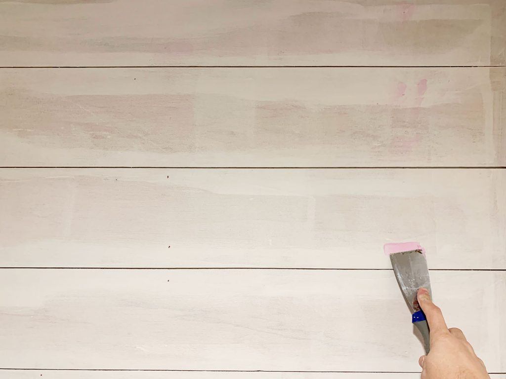 Kitchen Shiplap Backsplash Filling Nail Holes 1024x768 - Installing A $31 Paneled Wall Treatment (Beginners Can Do This!)