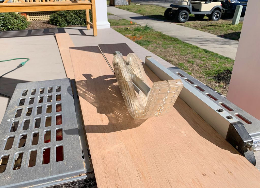 Cutting Wood Strips In Half Along Table Saw For Shiplap Look