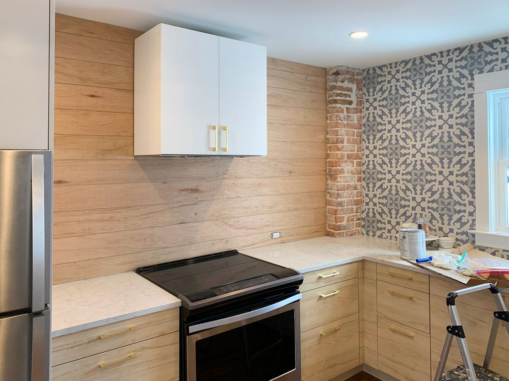Kitchen Shiplap Backsplash Second Kitchen 1024x768 - Installing A $31 Paneled Wall Treatment (Beginners Can Do This!)