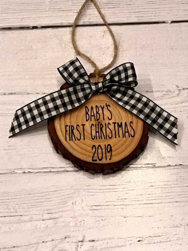 BabysFirstChristmasWoodSlice 02 600x800 - Baby's First Christmas Wood Slice Ornaments Buffalo Plaid Bow with Engraved Lettering