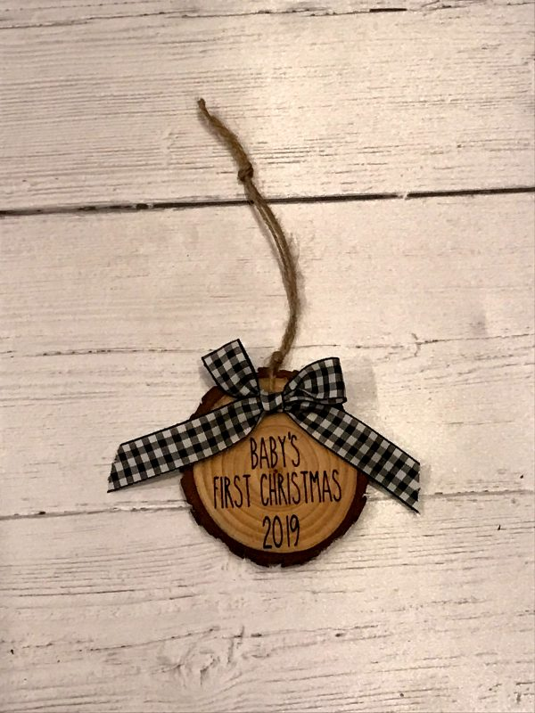 BabysFirstChristmasWoodSlice 03 600x800 - Baby's First Christmas Wood Slice Ornaments Buffalo Plaid Bow with Engraved Lettering
