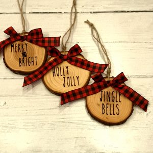 WoodSlizeSet 01 300x300 - Set of 3 Wood Slice Ornaments Red Buffalo Plaid Bow with Engraved Lettering