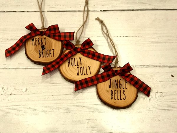 WoodSlizeSet 01 600x450 - Set of 3 Wood Slice Ornaments Red Buffalo Plaid Bow with Engraved Lettering