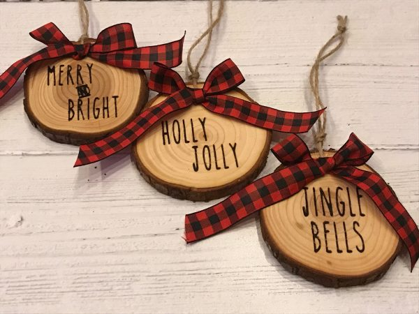 WoodSlizeSet 02 600x450 - Set of 3 Wood Slice Ornaments Red Buffalo Plaid Bow with Engraved Lettering
