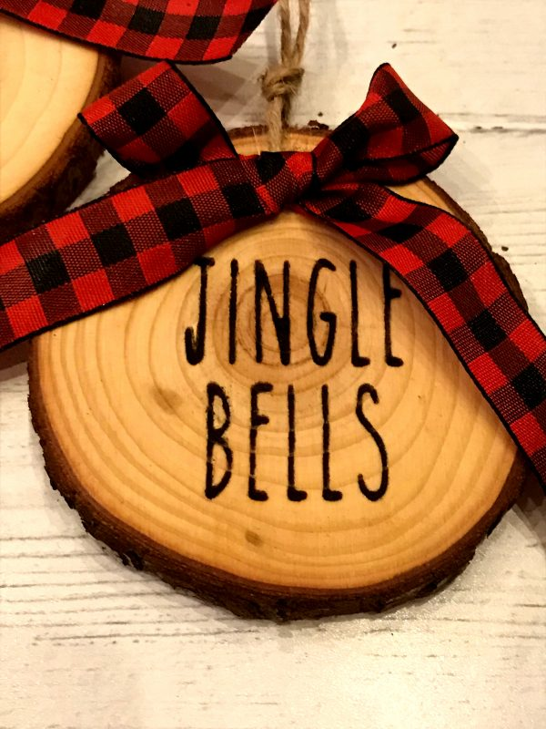 WoodSlizeSet 03 600x800 - Set of 3 Wood Slice Ornaments Red Buffalo Plaid Bow with Engraved Lettering