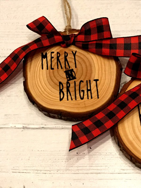 WoodSlizeSet 04 600x800 - Set of 3 Wood Slice Ornaments Red Buffalo Plaid Bow with Engraved Lettering