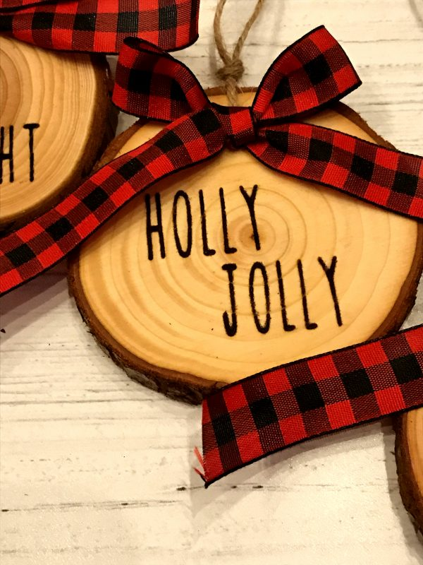 WoodSlizeSet 05 600x800 - Set of 3 Wood Slice Ornaments Red Buffalo Plaid Bow with Engraved Lettering